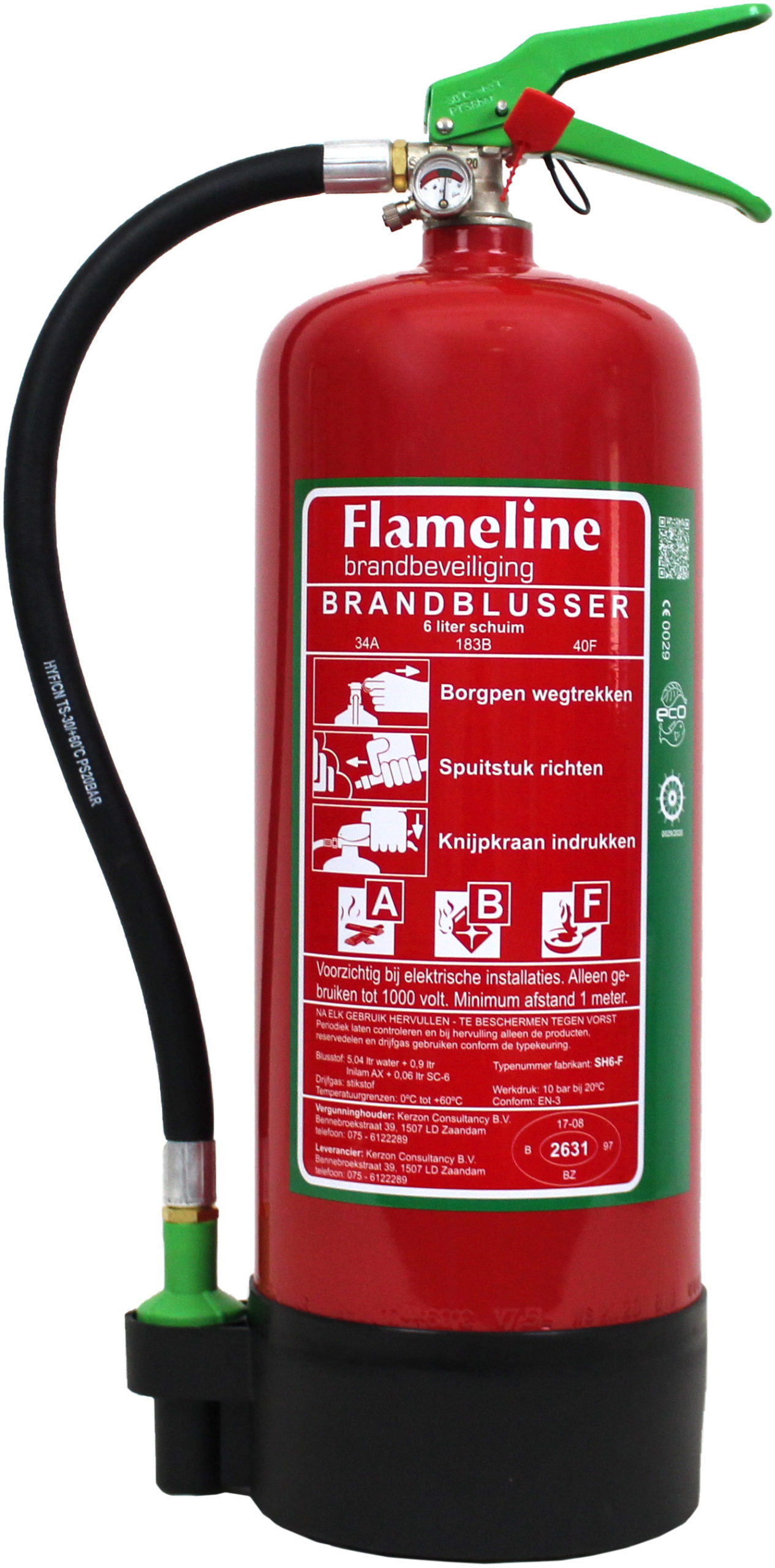 SH6F schuimblustoestel +vet blustoestel  6 liter rating 34A-183B-40F